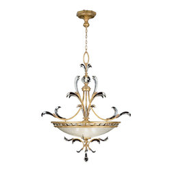 Fine Art Lamps - Beveled Arcs Gold Pendant, 762740ST - Like fine jewelry for your room, this grandly scaled pendant is sure to dazzle. Its body is finished in muted gold leaf, and it features graceful, arcing crystal accents, a glass globe encircled by more crystals and a crystal teardrop finial. Simply brilliant!