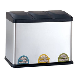Three-Compartment Step-On Recycling Bin, 11.8 Gallons