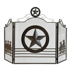 Gifts Galore - Lone Star fireplace Screen - Add a touch of Texas style in your hearth with this handsome folk art screen!  Striking gate design features a host of metal cutouts and rustic weathered finish; gives any room a cozy prairie campfire feel.