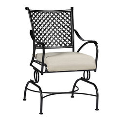 Frontgate - Paris Coil Chair with Cushion, Patio Furniture - Crafted from hand forged wrought iron. Ultra UV resistant Ebony finish. Timeless lattice design. Electro-galvanized iron treatment provides weather resistance. From the Arc de Triomphe to the Eiffel Tower, the Paris Coil Chair is a blend of boldness and stately sophistication. Paris strikes a curvaceous pose in classic wrought iron, boasting a transitional statement of timelessness. The seat and back pattern is formed by stamped steel that is electro-galvanized, then powder coated in an ultra UV resistant finish. . . . . Note: Due to the custom-made nature of the cushions, any fabric changes or cancellations made to the Paris Collection by Summer Classics must be made within 24 hours of ordering.