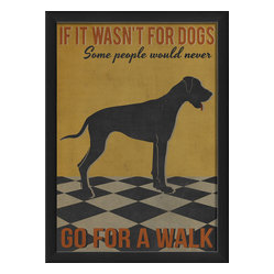 The Artwork Factory - 'If It Wasn't for Dogs' Print - Ready-to-Hang, 100% Made in the USA, museum quality framed artwork