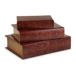 """IMAX - Nesting Wooden Book Boxes - Set of 3 - Traditional set of lidded book boxes in burgundy with a hit of gold ink accents.   Item Dimensions: (9.5-12-14.75""""h x 6.25-8.5-10.5""""w x 2.25-3-3.75"""")"""