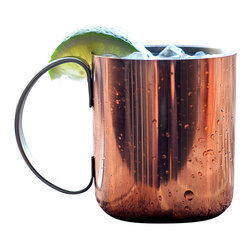 Custom Copper Mugs, LLC - 12 oz Stainless Steel Copper Plated Mug - The mug of choice when serving the infamous Moscow Mule--a cocktail made from a blend of vodka, ginger beer, and lime juice. The copper mug enhances the flavor and keeps the drink colder, longer.