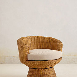 Pedestal Wicker Chair - This wonderfully retro chair will beckon your guests to stay for a lengthy conversations as the wine flows.