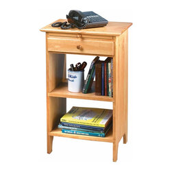 Renovators Supply - End Tables Heirloom Pine 29 1/2'' H Harvard End Table | 122815 - End Table. This Harvard end table is crafted of solid pine. Features a pullout tablet for note taking and a convenient drawer. Handy bottom shelves let's you store telephone books and other items. Finished in our Heirloom Pine stain. Measures 29 1/2 in. H x 19 in. W x 13 1/2 in. deep.