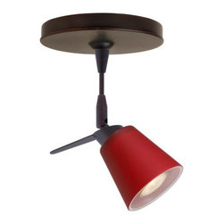 """Besa Lighting - Besa Lighting 1SP-5042RM Canto MR11 Halogen Spot Light - Canto 3 features a tapered drum shape that fits beautifully in transitional spaces. Our Ruby Matte glass is a deep red cased glass. This decor can add a contemporary feel to any room. When lit this glass gives off a light that is functional and vibrant. The smooth satin finish on the outer layer is a result of an extensive etching process. This blown glass is handcrafted by a skilled artisan, utilizing century-old techniques passed down from generation to generation. The 12V spotlight fixture is equipped with a 1.5"""" long stem, swivel lampholder, quick connect jack, and a low profile flat monopoint canopy.Features:"""