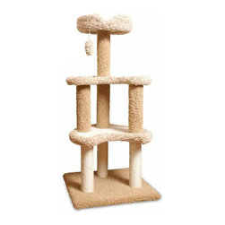 "Majestic Pet Products - 50"" Carpeted Sherpa Moon Cat Tree - Plush earth-toned carpeting and a soft faux sheepskin interior create a classy look worthy of any room in your house on this cat tree. Two moon shaped upper levels and a top perch give your cat plenty of safe spots to nap or supervise the household, and a dangling toy will keep her entertained for hours. Easy for humans to assemble."