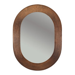 "Premier Copper Products - Premier Copper Products MFO3526 35"" Hand Hammered Oval Copper Mirror - Uncompromising quality, beauty, and functionality make up this Hand Hammered Copper Oval Mirror Frame.  Our hand made copper mirrors complement a wide variety of styles and colors."