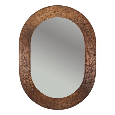"""Premier Copper Products - Premier Copper Products MFO3526 35"""" Hand Hammered Oval Copper Mirror - Uncompromising quality, beauty, and functionality make up this Hand Hammered Copper Oval Mirror Frame.  Our hand made copper mirrors complement a wide variety of styles and colors."""