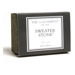 Sweater Stone - Pilling, when small pellets of twisted fibers appear and ruin the look of woven or knit fabrics, plagues favorite sweaters and fine upholstery alike.  The Sweater Stone allows you to restore your fabrics to their original perfection by removing pills to renew the texture.  It's quick and easy to use before company arrives or when you have a moment to spare.  The Sweater Stone is also free of harmful chemicals, so it's hypoallergenic and non-toxic.