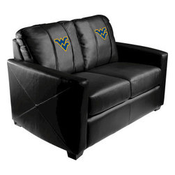 Dreamseat Inc. - West Virginia University NCAA Xcalibur Leather Loveseat - Check out this incredible Loveseat. It's the ultimate in modern styled home leather furniture, and it's one of the coolest things we've ever seen. This is unbelievably comfortable - once you're in it, you won't want to get up. Features a zip-in-zip-out logo panel embroidered with 70,000 stitches. Converts from a solid color to custom-logo furniture in seconds - perfect for a shared or multi-purpose room. Root for several teams? Simply swap the panels out when the seasons change. This is a true statement piece that is perfect for your Man Cave, Game Room, basement or garage.