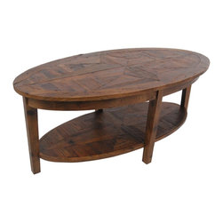 Alaterre - Alaterre Heritage Reclaimed Wood Oval Coffee Table - At 48 inches wide,this oval table is roomy enough to display your favorite books or treasures. This piece of furniture is made using reclaimed timber so that no piece is exactly alike and subtle imperfections are part of the wood's character.