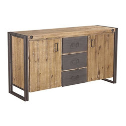 Moes Home Collection - Brooklyn Sideboard - Solid acacia wood, metal. Natural & Grey Color. 59.1 in. L x 18 in. W x 31.5 in. H (154.32 lbs)