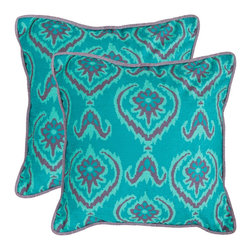 Safavieh - Alpine 18-inch Aqua Blue Decorative Pillows (Set of 2) - Dramatic and bold the teal blue of this ikat print pillow is accented with grayed purple.