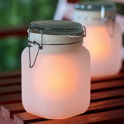 Solar-powered Glowing Sun Jar - Good looking solar-powered patio lights are great for outdoors, or try them in an entry too.