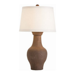Arteriors Home - Arteriors Home Dayton Lamp - Arteriors Home 17080-250 - Arteriors Home 17080-250 - A substantial sized urn shape ceramic, hand thrown then hand finished to look like aged terra cotta. The Euro-tapered ivory linen shade is lined in cotton to match.
