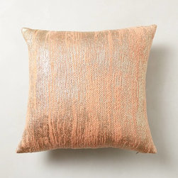Plaited Metallics Pillow, Peach - Throw this metallic pillow in with anything to add some interest.