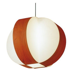 LZF - Carambola Pendant by LZF - The LZF Carambola Pendant diffuses a pleasant, ambient light through graphic and precise geometry that suggests a sliced-open fruit. The Carambola Pendant features a Natural timber wood veneer and polycarbonate shade.LZF Lighting from Spain, offers contemporary, designer lighting for residential and commercial interiors. Initially specializing in lighting crafted from wood veneers, LZF has expanded its product line to include other materials well-suited to contemporary styles.The LZF Carambola Pendant is available with the following:Included Features:Natural wood veneer and Opal perspex shade.Nickel ceiling canopy.72 in. Clear cord.UL Listed.Designed by Oskar Cerezo.Options:Shade: American White, Beech, Cherry (shown), Green, Grey, Orange, Red, or Yellow.Size: Large (shown), Medium, or Small.Lighting:Large option utilizes four 60 Watt 120 Volt Type E-27 Incandescent lamps (not included).Medium option utilizes one 60 Watt 120 Volt Type E-27 Incandescent lamp (not included).Small option utilizes one 60 Watt 120 Volt Type E-27 Incandescent lamp (not included).Shipping:This item usually ships in 6-8 weeks.