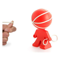 j-me design - Rafael Rubber Band Holder, Red - What a lively little helper! The Rafael Rubber Band Holder is uniquely designed to be the cutest rubber band holder in your office. As functional as it is adorable, it comes with three rubber bands to start you off. Simply wrap each band around Rafael's head and in no time he's a multicolor marvel. And don't forget, he'll hold rubber bands for you too!