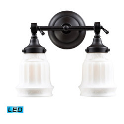 Elk Lighting - Landmark Lighting Quinton Parlor 66212-2-LED OiLED Bronze Vanity - LED - 800 Lum - 66212-2-LED OiLED Bronze Vanity - LED - 800 Lumens belongs to Quinton Parlor Collection by Landmark Lighting Inspired By Chandelier Glass Of The Victorian Period, This Collection Features White Hand-Blown Glass With Beautiful Flutes And A Leaf Motif. A Simple OiLED Bronze Finished Frame Compliments The White Glass Adding Idyllic Charm. - LED, 800 Lumens (1600 Lumens Total) With Full Scale Dimming Range, 60 Watt (120 Watt Total)Equivalent , 120V Replaceable LED Bulb Included Vanity Light (1)