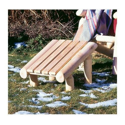 """Rustic Cedar - Outdoor Ottoman, Natural Cedar Log Construction - This ruggedly handsome Outdoor Ottoman features Natural Cedar Log Construction in the Adirondack design tradition.  Weighing just 15 pounds, it's easily transported or stored.  This ottoman provides welcome leg support to help you enjoy those late summer afternoons to the fullest!  Enhance the comfort and support of most any Adirondack style chair with our Light Cedar Log Ottoman!  This well-made, durable ottoman is angled for optimum leg support and displays rugged wood slat construction in naturally decay resistant Light Cedar. * This ruggedly handsome Outdoor Ottoman features Natural Cedar Log Construction in the Adirondack design tradition.. Weighing just 15 pounds, it's easily transported or stored.. This ottoman provides welcome leg support to help you enjoy those late summer afternoons to the fullest!. 14.25"""" high x 20"""" deep x 19.25 wide. Weight: 15lbs."""