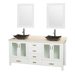 """Wyndham Collection - Lucy Vanity in White, Ivory Marble Top, Arista Black Granite Sink, 24"""" Mirrors - The Lucy double bathroom vanity by Wyndham Collection is as beautiful as it is functional. The modern design puts a visual emphasis on clean lines, luxurious natural marble, abundant storage for two, and is at home in almost every bathroom decor. Included in the Lucy double bathroom vanity are either solid White Carrera Marble or Ivory Marble counters, a multitude of sink options, and a pair of matching mirrors. Featuring soft-close door hinges, you'll never hear a door slam shut again! Sure to inspire imitators, the original Wyndham Collection sets new standards for design and construction."""