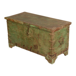 Sunken Treasure Green Reclaimed Wood Standing Multi-Use Chest - Capture the romance of storybook pirates and untold riches with our Sunken Treasure Green Standing Storage Box. This multi-use trunk looks like it was just rescued from a tropical island with its naturally distressed old wood surfaces. This eco-friendly chest is built with reclaimed wood from Gujarat with original coloring; no extra paints or stains are added.