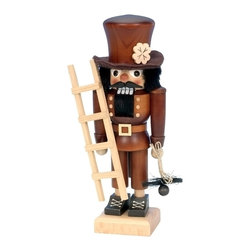 """Alexander Taron - Alexander Taron Christian Ulbricht Nutcracker-Chimney Sweep- 10.5""""H x5""""Wx 3.25""""D - The small Chimneysweep nutcracker from Ulbricht/Seiffener Nussknackerhaus is handmade in Germany in a natural wood finish. He is a traditional good luck symbol - especially if he touches you!"""