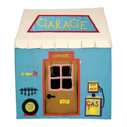 Wingreen - WinGreen Cotton Playhouse - Garage, Large - We all need a friendly mechanic sometimes, so how better to make all your repairs with your very own Win Green Garage playhouse. appliqued and embroidered with fuel pump, spare tire, oil can and spanners you'll have everything you need to fix any problems. Plus on the side, raised up on ramps, is a beautifully embroidered red car!