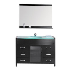 """Design Elements - Design Elements DEC017-G Vanity in Espresso - The Waterfall 48"""" glass-top vanity set is elegantly constructed of solid hardwood, which beautifully showcases the natural aqua of the glass countertop. The integrated frosted glass countertop and sleek drop-in sink design bring contemporary elegance to any bathroom. This stylish design includes a soft-closing cabinet door and six pullout drawers, all adorned with satin nickel hardware. Included is a framed mirror with shelf. The Waterfall Bathroom Vanity is designed as a centerpiece to awe and inspire the eye without sacrificing quality, functionality, or durability."""