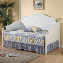 "Coaster - Traditional Classic White Daybed in White - This elegant daybed will be a beautiful addition to your classic spare bedroom. The headboard, footboard, and back feature distinctively curve crown molding, above slatted panels for a charming look. Shaped posts are topped with simple round finials, creating a sophisticated style. In a clean w hite finish, this bed will be a gorgeous addition to your home.; Traditional Style; White finish; Some assembly required.; Dimensions: 83.5""L x 41""W x 51""H"