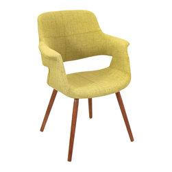 "Lumisource - Vintage Flair Chair, Green/Walnut - 21.25"" L x 27"" W x 34.5"" H"