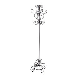 Metal Standing Scroll Coat Rack - 72H in. Multicolor - 63256 - Shop for Coat Hooks and Racks from Hayneedle.com! Home isn't just where your heart is it's where you lay your coat- so why not drape it over the Metal Standing Scroll Coat Rack- 72H in? Tall and elegant this coat rack features an intricately scrolled design perfect for making a cozy yet elegant impression in your foyer or mudroom. And with its multitude of hooks there is plenty of room for family and guests alike to drop by.