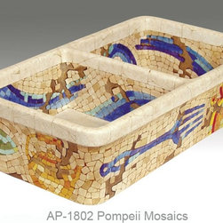 """Pompeii Mosaics double bowl fireclay sink - """"POMPEII MOSAICS"""" Shown on AP-1802 white Double Bowl Fireclay kitchen sink 31-1/2""""W x 17-3/4""""D x 8""""H. This design is available in any of our kitchen sinks. You can customize the design using colors to match your specific décor. These fine sinks are hand painted in the USA."""