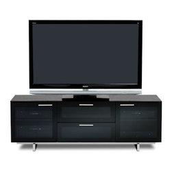BDI - Avion Noir II Media Center with Freestanding TV Cabinet - The Avion Noir II Media Center comes in a sleek black with metal base. It comes equipped with hidden wheels adjustable shelves, and cable management.
