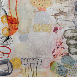 Pandora's Garden No. 3 - Mixed Media Painting on Paper - This mixed media painting is part of a popular series within our online gallery. It's a wonderful exploration of form, color and movement.