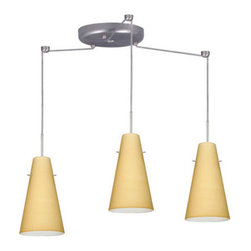 Besa Lighting - Besa Lighting 3JC-4124VM-LED Cierro 3 Light LED Cord-Hung Mini Pendant - Cierro is a softly tapered narrow cylinder, creating a refined contemporary look. Our Vanilla Matte glass is a light golden cased glass and opal inner layer. The orange glow has a low key harmonious display that exudes a warm mood. When lit the glass is vitalizing as well as stylish. The smooth satin finish on the outer layer is a result of an extensive etching process. This blown glass is handcrafted by a skilled artisan, utilizing century-old techniques passed down from generation to generation. The cord pendant fixture is equipped with three (3) 10' SVT cordsets and a 3-light round canopy, three (3) suspension stemhooks included.Features:
