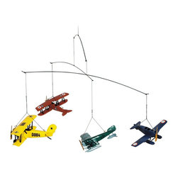 Authentic Models - Authentic Models Flight Mobile - 1920 - AP120 - Shop for Mobiles from Hayneedle.com! Yellow red green and blue fighter planes are depicted in this intricately designed hanging Authentic Models Flight Mobile 1920. In this colorful mobile stainless steel wires and sturdy nylon line keep the planes in a constant graceful motion. The four planes were constructed from wood and are perfect for any interior room dens bedrooms and offices but suitable for outdoor use too. Easy to hang the mobile measures one foot tall.About Authentic ModelsAuthentic Models strives to create and distribute a comprehensive collection of historic and fine art reproductions worldwide. Haring Piebenga founded the company in 1968 and today AM is a European wholesale manufacturer with warehouses and corporate offices in Oregon and Amsterdam. AM pursues original items at auctions and uses these models for their design ideas. Each hand-made item appeals to the human need for nostalgia intrigue and beauty by evoking a story from the past. High-quality construction using only the finest materials ensures that these charming pieces will become treasured heirlooms in their own right.