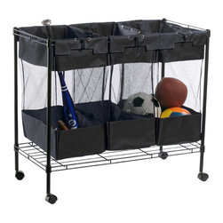 Heavy-Duty Triple Storage Bin - Corral balls and other sports equipment in this three-section organizer. Get a second one for the laundry room for whites, darks and brights.