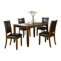 Monarch Specialties - Monarch Specialties 5-Piece 72 x 36 Dining Room Set in Walnut - Create a contemporary look in your kitchen area with this lovely dining table. Bathed in a dark walnut ash veneer, this piece features a spacious rectangular top with a waterfall profile and shaker legs. For additional space, there is an extension leaf to accommodate up to six of your guests for easy dining. There is no doubt that this piece will be the focal point of your dining space. With the seats and back upholstered in padded black leather and a look easy care material, these chairs will bring a contemporary appeal that will provide years of lasting enjoyment. What's included: Table (1), Side Chair (4).
