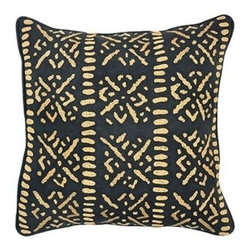 Villa Home - Nutopia Tiko Black Pillow - Primitive in design this printed, embroidered, and hand beaded tribal pattern will be a bold accent to your global design.  Each all natural pillow includes a feather down insert.