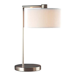 """George Kovacs - George Kovacs Park Collection Desk Lamp - Make working at your desk easy with this updated lamp from George Kovacs. A brushed nickel finish is accented by the white pleated linen shade for a clean contemporary look. Designed by Alecia Wesner. Takes one 75 watt bulb (not included). Measures 19 1/2"""" high 13 1/2"""" wide.  Brushed nickel finish.  From the George Kovacs desk lamp collection.  White pleated linen shade.  Takes one 75 watt bulb (not included).   19 1/2"""" high.  13 1/2"""" wide."""