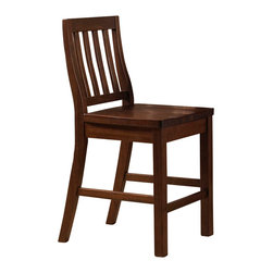 Hillsdale Furniture - Hillsdale Outback Non Swivel Counter Stool (Set of 2) in Distressed Chestnut - Crafted from high mountain ash solids and some select plywood, the Outback collection is sturdy and stylish. The timbers are mill cut to give each-piece an aged and distressed appearance. The warm chestnut finish is complemented by the natural imperfections of knots, cracks and blemishes. Each-piece is unique and full of rustic charm. The mission style non-swivel stools have gently curved backs and wood seats. The counter height table has stout, square legs, a wine rack and shelf. The table is large enough to seat 6 comfortably. The Outback counter height dining is a perfect addition to any home.