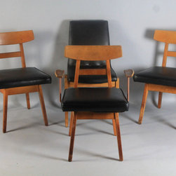 FOUR JENS RISOM CHAIRS TO INCLUDE A PAIR OF BLACK LEATHER AND WOOD SIDE CHAIRS, - The Potomack Company
