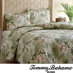 Tommy Bahama - Tommy Bahama Tropical Orchid 3-piece Quilt Set - Add to your bedroom's decor while providing a soft and warm surface to slip beneath with this three-piece cotton quilt set from Tommy Bahama. The set features a bright floral pattern in green, covering a 100 percent cotton design that's cozy warm.