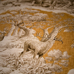 Deer fabric gold toile nature woodland cabin lodge - A deer fabric. A yellow gold deer toile fabric. If you need a lodge fabric or cabin fabric this is perfect! There is a co-ordingating fabric with feathers floating over a plaid background.