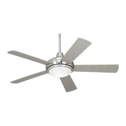 """Casa Vieja - Contemporary 52"""" Casa Compass™ Brushed Nickel Ceiling Fan - A simple and stylish contemporary brushed nickel fan by Casa Vieja. Hand-held remote controls the five silver blades. Hand-held remote includes optional wallplate bracket (battery included). Has a 172 x 18mm motor with a 52"""" blade span and 12 degree blade pitch. Included 7"""" downrod. Not dual mountable. Includes two 13 watt CFL bulbs. The light kit cannot be dimmed with add on control if the CFL bulbs are used.  Brushed Nickel finish motor.  Five silver finish blades.  52"""" blade span.  12 degree blade pitch.  Lifetime motor warranty.  Includes hand-held remote.   Integrated light kit.  Takes two 13 watt CFL bulbs (included).  Light kit on/off operated with remote. Non-dimmable.   7"""" downrod included.  Minimum 9' ceiling required.  Fan height 14.4"""" blade to ceiling (with 7"""" downrod included).  Fan height 17.8"""" ceiling to bottom of light kit (with 7"""" downrod included).  Canopy 2.18"""" height and 6"""" wide."""