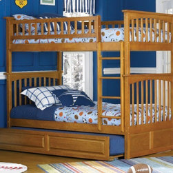 Columbia Bunk bed in Caramel Latte by Atlantic Furniture - The Columbia Bunk Bed is the perfect mission-style bunk bed for your children's bedroom. Available in twin-over-twin, twin-over-full, or twin-over-futon designs with railings on the top bunk, the sturdy Columbia Bunk Bed is constructed of solid hardwood. Add optional under-bed storage drawers or an optional trundle unit (neither option works with twin-over-futon style) under the bed to provide even more convenient space. The bunk bed comes with two modesty panels, which can be attached to both ends of the bunk bed to give the Columbia Bunk Bed a more grounded look. Available in Natural Maple, Antique Walnut, and White finishes, the Columbia Bunk Bed is sure to become your child's favorite sleepy-time fort.