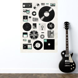 My Wonderful Walls - Retro Media Wall Sticker Decal – Data by Florent Bodart, Small - - Product:  photograph decal of recording media