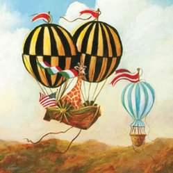 Antique Balloon Giraffe Canvas Reproduction by Oopsy Daisy